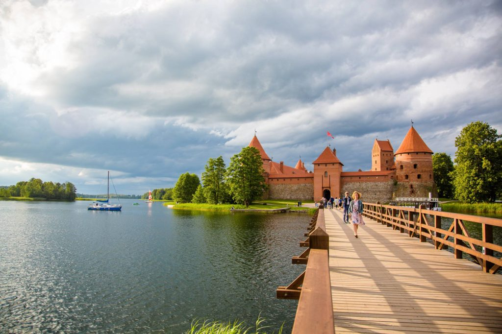 View over a bridge at Trakai castle while on a tour from Riga to Vilnius