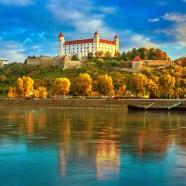 Bratislava castle and old town over the Danube river in Bratislava city, Slovakia