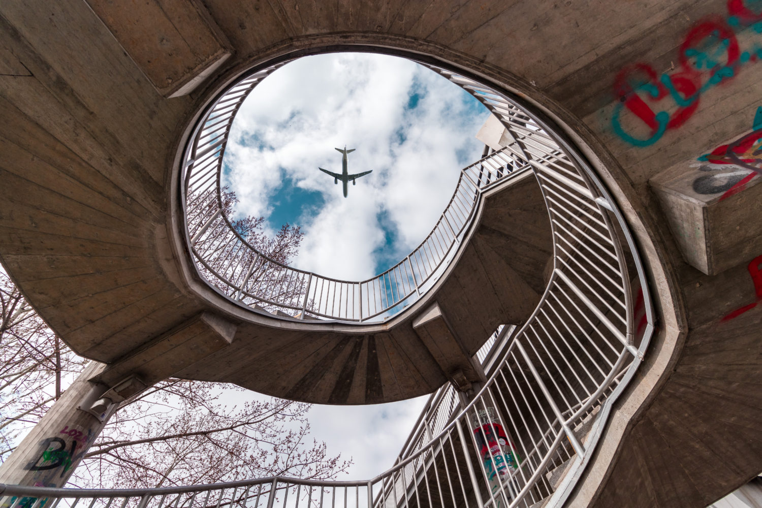 Plane going from Budapest to Vienna flying over a spiral staircase