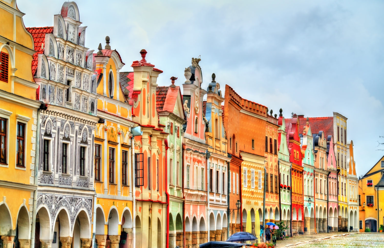 Row of colourful houses in Telc, Czech Republic during a road trip from Prague to Budapest