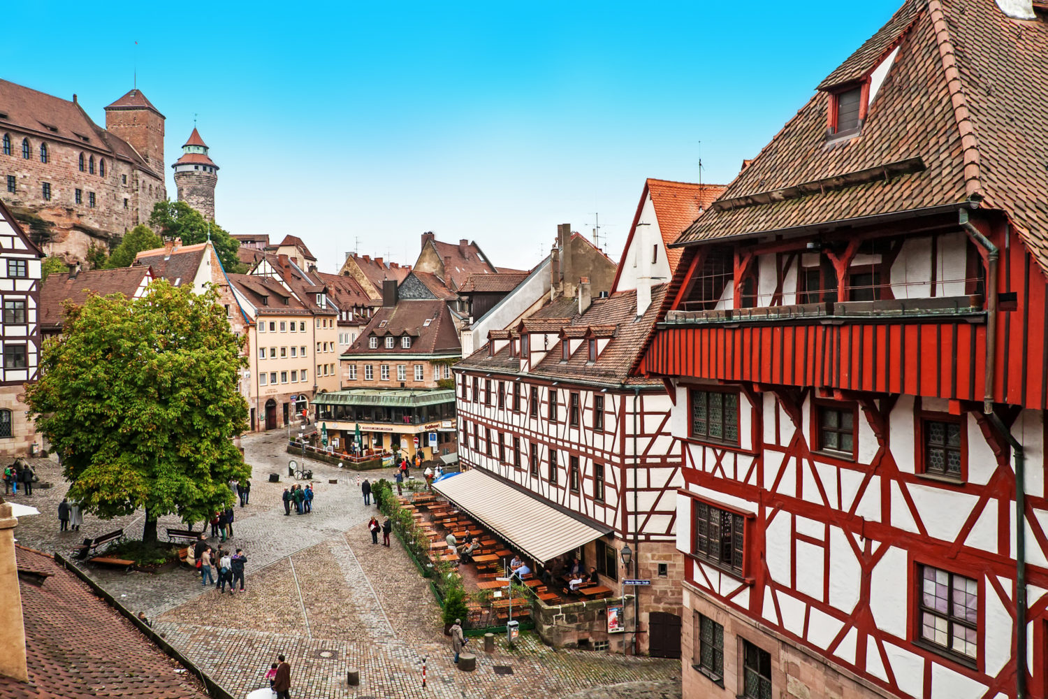 Street view with historic buildings in Nurnberg, Germany while on a road trip from Prague to Munich
