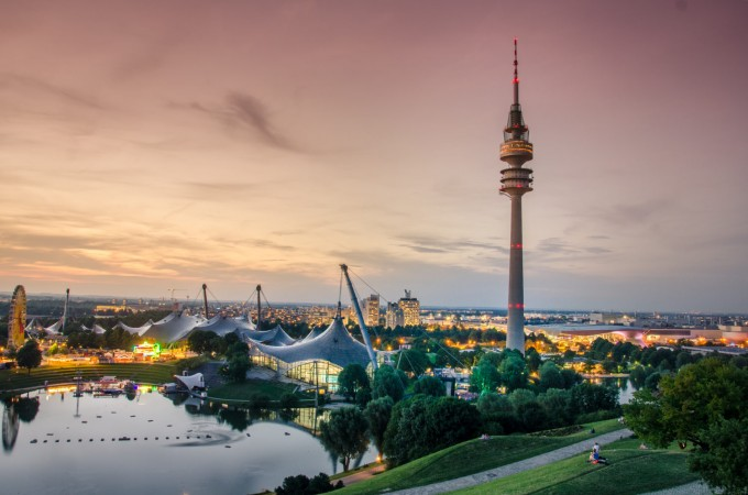 Sunset in Munich Olympic park
