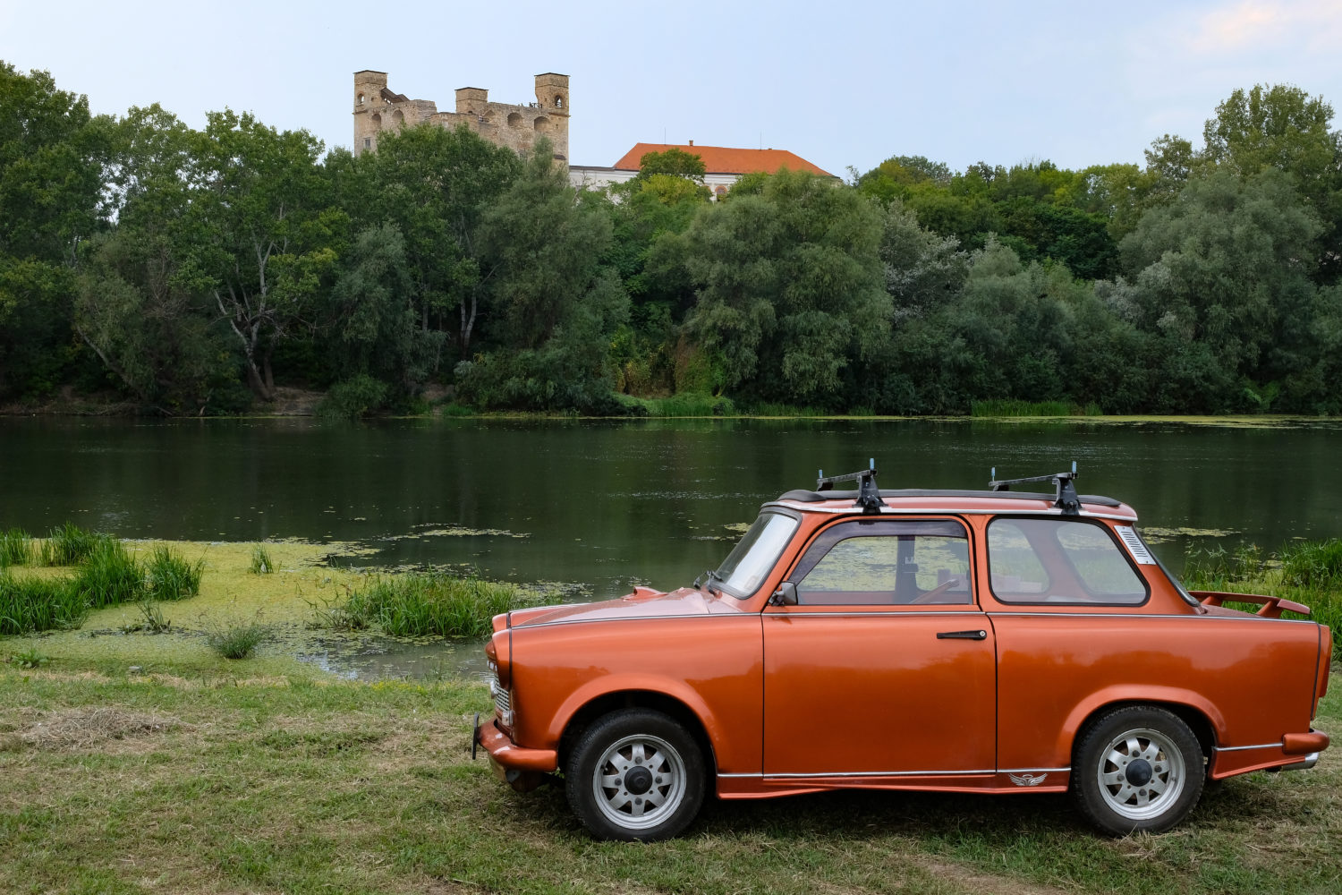 Vintage red Trabant car for private transfer from Budapest to Bratislava