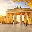 Brandenburg gate in Berlin at golden sunset