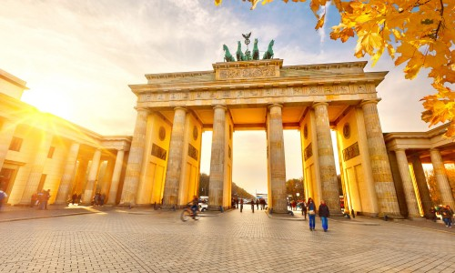 Brandenburg gate in Berlin at golden sunset