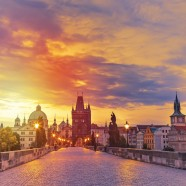 Charles Bridge in Prague during sunset
