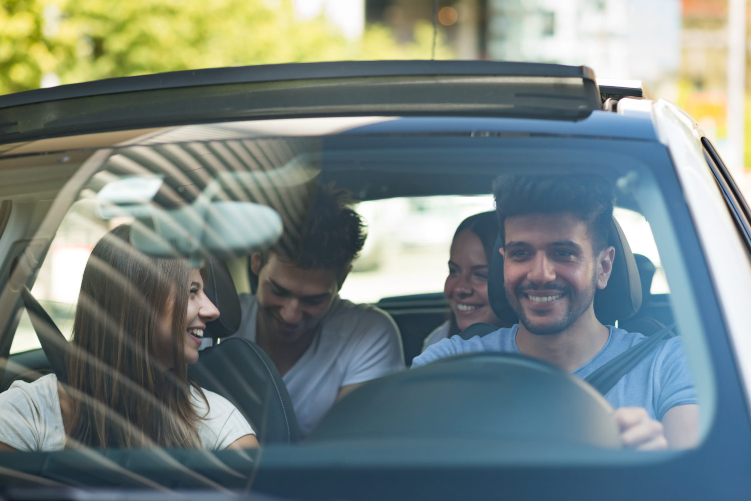 Fun young people car sharing from Prague to Bratislava