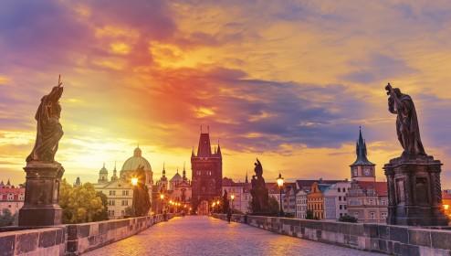 Charles Bridge in Prague during sunset