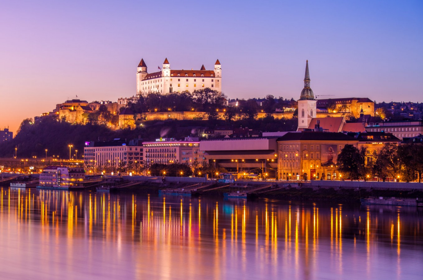 Sunset view of Bratislava Old Town and castle