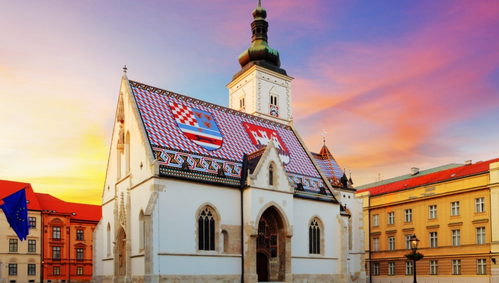 Sunset view of St Mark's Church in Zagreb