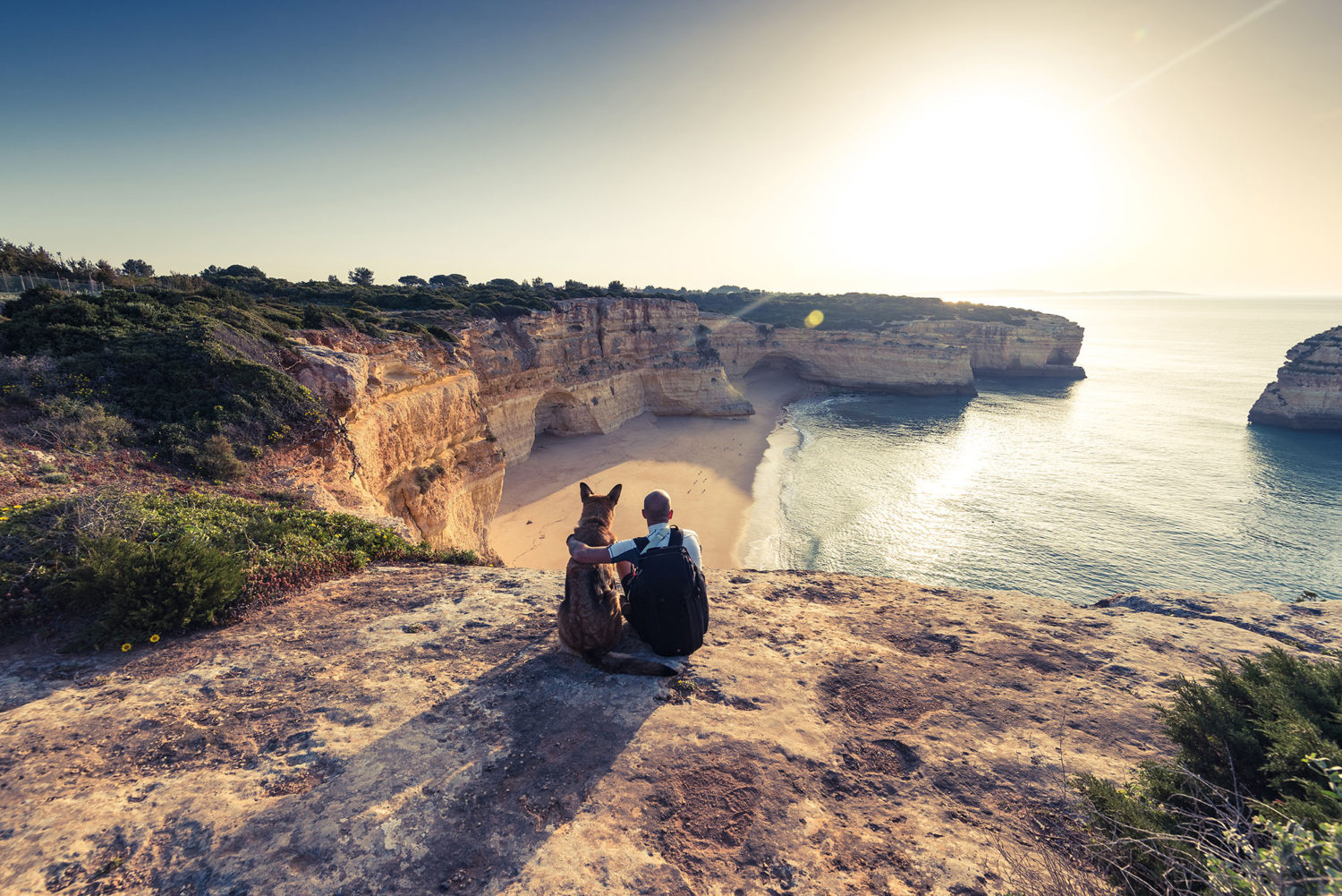 Man and dog overlooking seaside cliffs in Portugal